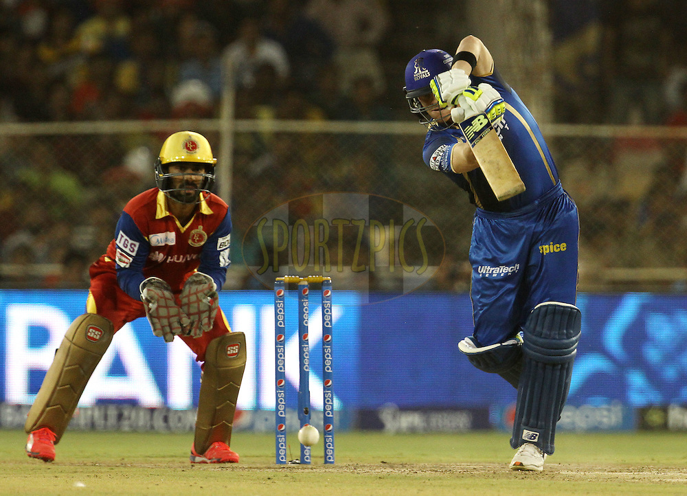Rajasthan Royals player Steven Smith plays a shot during match 22 of the Pepsi IPL 2015 (Indian Premier League) between The Rajasthan Royals and The Royal Challengers Bangalore held at the Sardar Patel Stadium in Ahmedabad , India on the 24th April 2015.<br /> <br /> Photo by:  Vipin Pawar / SPORTZPICS / IPL