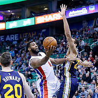 25 January 2016: Detroit Pistons center Andre Drummond (0) goes for the layup against Utah Jazz center Rudy Gobert (27) during the Detroit Pistons 95-92 victory over the Utah Jazz, at the Vivint Smart Home Arena, Salt Lake City, Utah, USA.