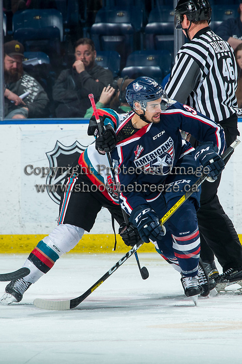 KELOWNA, BC - FEBRUARY 12: Jadon Joseph #38 of the Tri-City Americans is checked after the face-off against the Kelowna Rockets at Prospera Place on February 8, 2020 in Kelowna, Canada. (Photo by Marissa Baecker/Shoot the Breeze)
