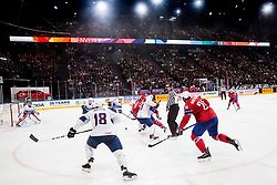 Patrick Thoresen of Norway vs Pierre-Edouard Bellemare of France during the 2017 IIHF Men's World Championship group B Ice hockey match between National Teams of Norway and France, on May 6, 2017 in Accorhotels Arena in Paris, France. Photo by Vid Ponikvar / Sportida
