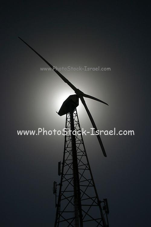wind turbine; Golan Heights, Israel,