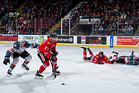 KELOWNA, CANADA - MARCH 3: Leif Mattson #28 of the Kelowna Rockets back checks Jared Freadrich #27 of the Portland Winterhawks  on March 3, 2019 at Prospera Place in Kelowna, British Columbia, Canada.  (Photo by Marissa Baecker/Shoot the Breeze)