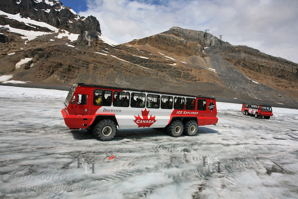 Huge all-terrain buses park on Athabasca Glacier to let tourists get out and walk on the Columbia Icefield in Jasper National Park, Alberta, Canada.