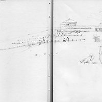 Sketchbook drawing Worthing beach with pier