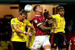 Aden Flint of Bristol City challenges Adrian Mariappa and Sebastian Prodl of Watford to a header - Mandatory by-line: Robbie Stephenson/JMP - 22/08/2017 - FOOTBALL - Vicarage Road - Watford, England - Watford v Bristol City - Carabao Cup