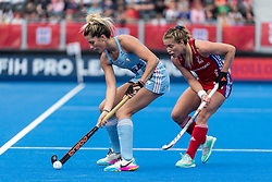 Agustina Albertarrio of Argentina Women is watched by Suzy Petty of Great Britain Women during the 2019 Women's FIH Pro League match at Lee Valley Hockey Centre, Stratford<br /> Picture by Simon Parker/Focus Images Ltd <br /> 18/05/2019