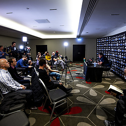 All Blacks coach Steve Hansen talks to media during the 2019 Investec Rugby Championship Series New Zealand All Blacks presser at Intercontinental Hotel in Wellington, New Zealand on Thursday, 25 July 2019. Photo: Dave Lintott / lintottphoto.co.nz