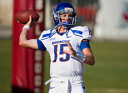 Sep. 18, 2009; Fresno, CA, USA;  Boise State Broncos quarterback Joe Southwick (15) before the game at Bulldog Stadium. Boise State defeated the Fresno State Bulldogs 51-34.