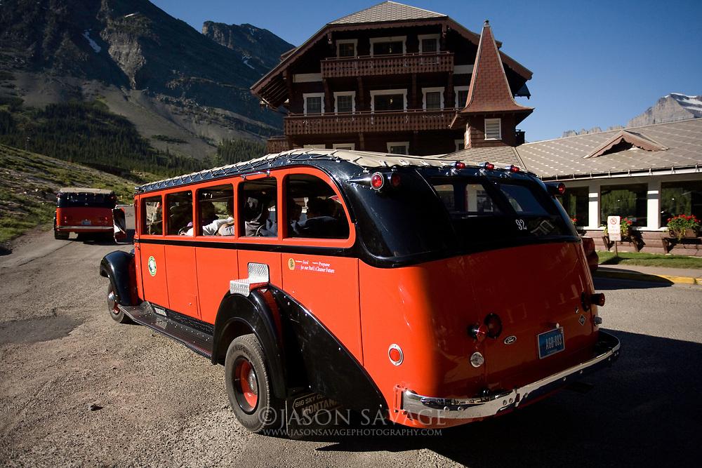 Red buses at Many Glacier Lodge, Glacier National Park.