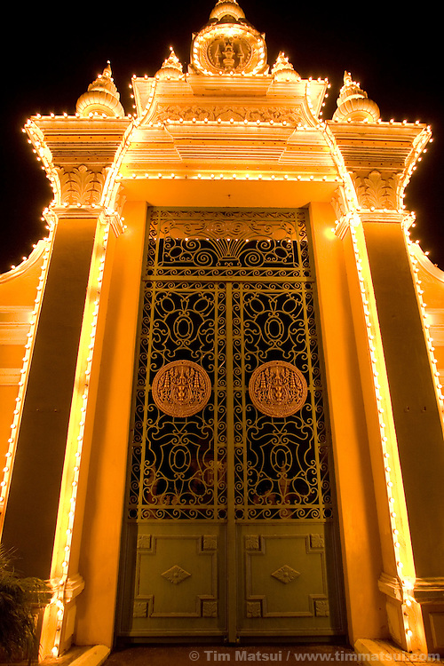Cambodian Royal Palace at night in downtown Phnom Penh, Cambodia.