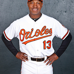 February 26, 2011; Sarasota, FL, USA; Baltimore Orioles coach Willie Randolph (13) poses during photo day at Ed Smith Stadium.  Mandatory Credit: Derick E. Hingle