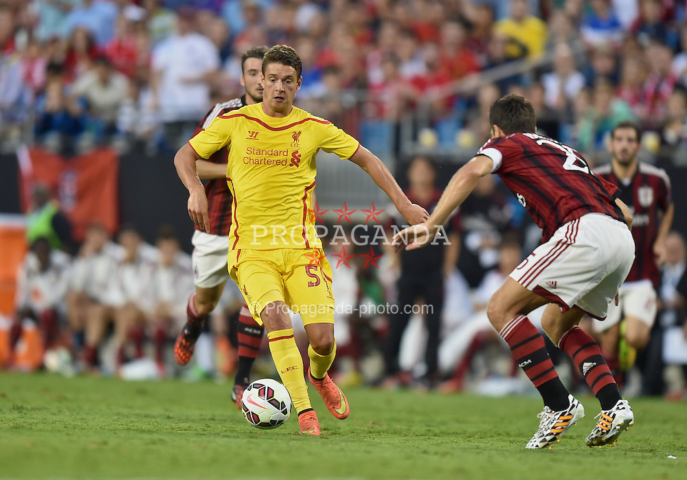 CHARLOTTE, USA - Saturday, August 2, 2014: Liverpool's Kristoffer Peterson in action against AC Milan during the International Champions Cup Group B match at the Bank of America Stadium on day thirteen of the club's USA Tour. (Pic by David Rawcliffe/Propaganda)