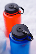 Detail of water bottles on snow, Sequoia National Park, California