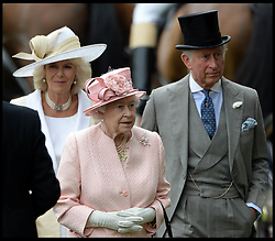 HM The Queen With the Duchess of Cornwall and Prince Charles in the Parade ring on the Opening day of Royal Ascot 2013 Ascot, United Kingdom<br /> Tuesday, 18th June 2013,<br /> Picture by Andrew Parsons / i-Images