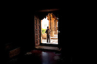 A man enters a Ganesh Temple near the amber fort just outside Jaipur City india Nov. 16, 2006 Jaipur India.    (photo by Darren Hauck).......................