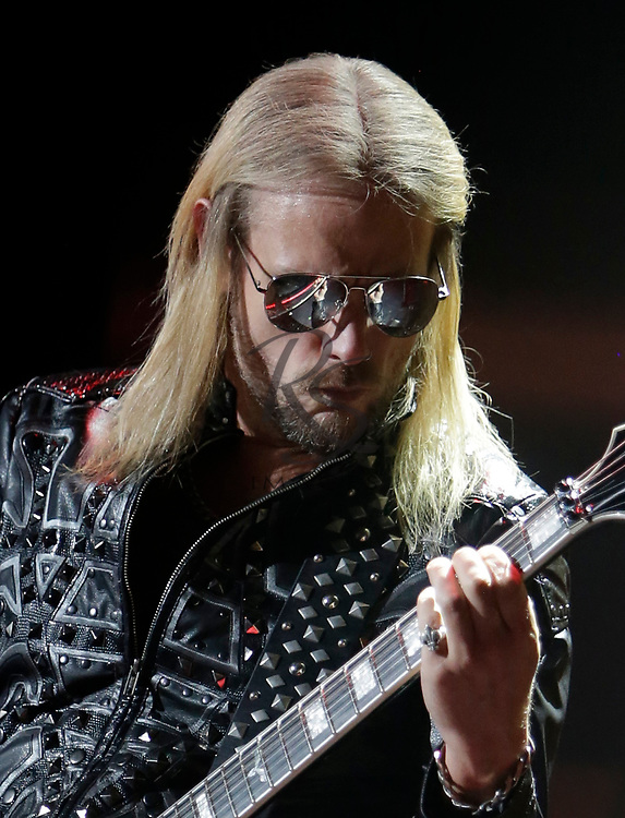 Richie Faulkner of Judas Priest performs on Tuesday, April 24, 2018, in Phoenix, Arizona. (AP Images/Rick Scuteri)