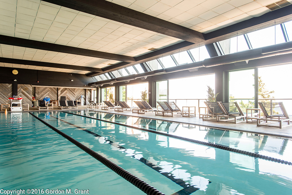 Montauk, NY - 5/23/16 - A portion of the indoor seawater poolin the spa area at Gurney's Montauk Resort &amp; Seawater Spa, in Montauk, NY May 23, 2016. CREDIT: Gordon M. Grant for The Wall Street Journal<br /> <br /> NYSPACES_Montauk