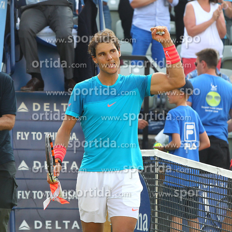 11.06.2015, Tennis Club Weissenhof, Stuttgart, GER, ATP Tour, Mercedes Cup Stuttgart, im Bild Rafael Nadal ( ESP ) jubelt nach dem Sieg einer Matchdauer von 2h 40 Minuten // during the Mercedes Cup of ATP world Tour at the Tennis Club Weissenhof in Stuttgart, Germany on 2015/06/11. EXPA Pictures &copy; 2015, PhotoCredit: EXPA/ Eibner-Pressefoto/ Langer<br /> <br /> *****ATTENTION - OUT of GER*****