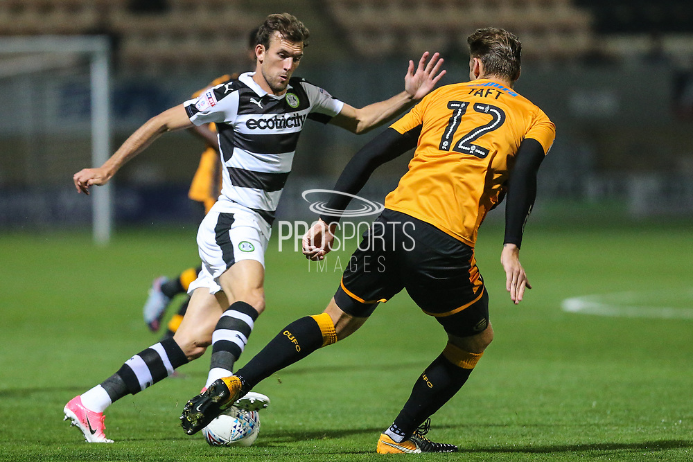 Forest Green Rovers Christian Doidge(9) goes past Cambridge United's George Taft(12) during the EFL Sky Bet League 2 match between Cambridge United and Forest Green Rovers at the Cambs Glass Stadium, Cambridge, England on 26 September 2017. Photo by Shane Healey.