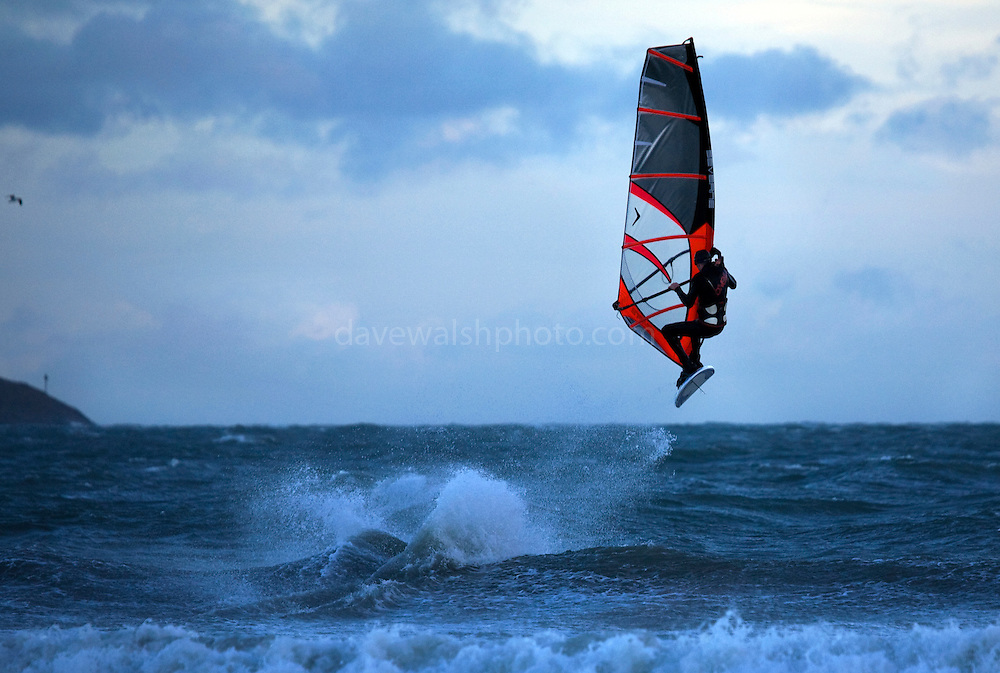 Windsurfer in the air, Dollymount Beach, Bull Island, Dublin, Ireland