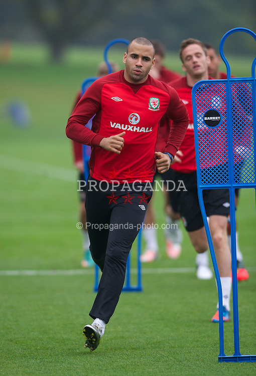 CARDIFF, WALES - Tuesday, October 9, 2012: Wales' Hal Robson-Kanu during a training session at the Vale of Glamorgan ahead of the 2014 FIFA World Cup Brazil Qualifying Group A match against Scotland. (Pic by David Rawcliffe/Propaganda)