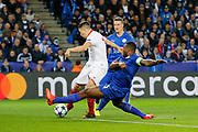 Sevilla midfielder Samir Nasri (10) shoots during the Champions League round of 16, game 2 match between Leicester City and Sevilla at the King Power Stadium, Leicester, England on 14 March 2017. Photo by Richard Holmes.