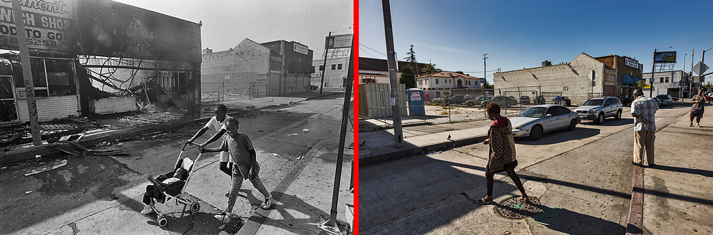 Before and after photos of S.Vermont Ave and 86th Street.<br /> <br /> 25 before and after LA92 photo project.