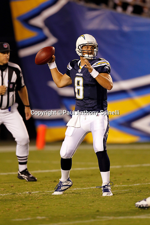 San Diego Chargers quarterback Jonathan Crompton (8) throws a pass during a NFL week 2 preseason football game against the Dallas Cowboys on Saturday, August 21, 2010 in San Diego, California. The Cowboys won the game 16-14. (©Paul Anthony Spinelli)