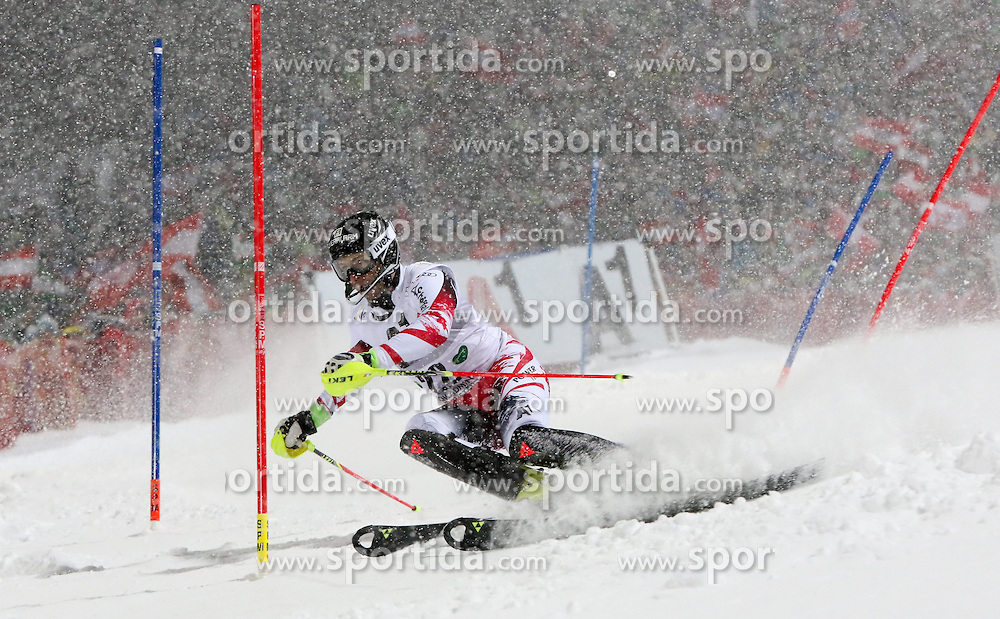 27.01.2015, Planai, Schladming, AUT, FIS Weltcup Ski Alpin, Nightrace, Slalom, Herren, 1. Durchgang, im Bild Reinfried Herbst (AUT) // Reinfried Herbst of Austria in action during 1st run of mens slalom of the Schladming FIS Ski Alpine World Cup at the Planai course in Schladming, Austria on 2015/01/27. EXPA Pictures © 2015, PhotoCredit: EXPA/ Martin Huber