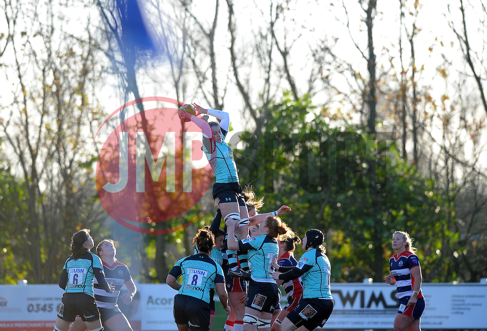 Worcester Valkyries in line-out action against Bristol Ladies - Mandatory by-line: Paul Knight/JMP - 04/12/2016 - RUGBY - Cleve RFC - Bristol, England - Bristol Ladies v Worcester Valkyries - RFU Women's Premiership