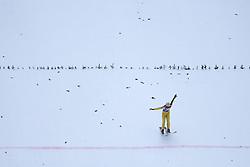 08.01.2015, Kulm, Bad Mitterndorf, AUT, FIS Ski Flug Weltcup, Einfliegen der Schanze, im Bild ein Vorspringer, der in der Naehe der Hillsize-Linie landet, Bjoern Koch (AUT) // during the FIS Ski Flying World Cup at the Kulm, Bad Mitterndorf, Austria on on 2015/01/08. EXPA Pictures © 2015, EXPA/ Martin Huber