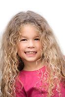 caucasian little girl portrait cute smiling isolated studio on white background