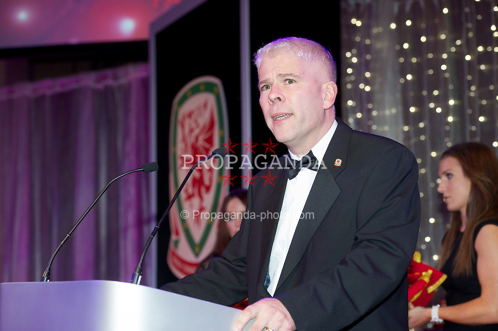 CARDIFF, WALES - Monday, October 8, 2012: Sky Sports' Bryn Law during the FAW Player of the Year Awards Dinner at the National Museum Cardiff. (Pic by David Rawcliffe/Propaganda)