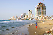 The skyline and beach front of Tel Aviv, Israel