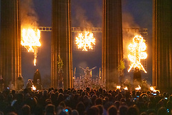 Edinburgh, Scotland, UK. 30 April, 2019. Beltane Fire Festival ushers in summer on Tuesday 30th April with a spectacular display of fire, immersive theatre, drumming, body paint, and elaborate costumes. Described by some as the &ldquo;medieval Burning Man&rdquo;, this alternative May Day celebration re-imagines the ancient Celtic festival with roughly 300 volunteer performers for thousands of spectators from all over the world on top of Calton Hill in Edinburgh . Pictured The May Queen on the National Monument<br /> <br /> <br /> WHEN