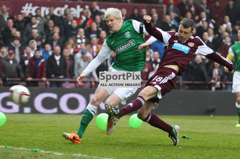 Dale Carrick fires in the opening goal during the Heart of Midlothian FC  V Hibernian FC  Scottish Premiership  30th  March 2014 ©Edward Linton | SportPix.org.uk