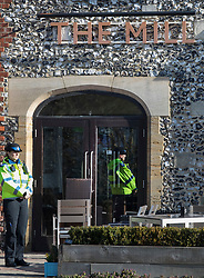 © Licensed to London News Pictures. 07/03/2018. Salisbury, UK. Police maintain  cordon around The Mill pub where former Russian spy Sergei Skripal and his daughter visited before becoming ill with suspected poisoning. The couple where found unconscious on bench in Salisbury shopping centre. Specialist units have been called in to deal with any possible contamination. Photo credit: Peter Macdiarmid/LNP