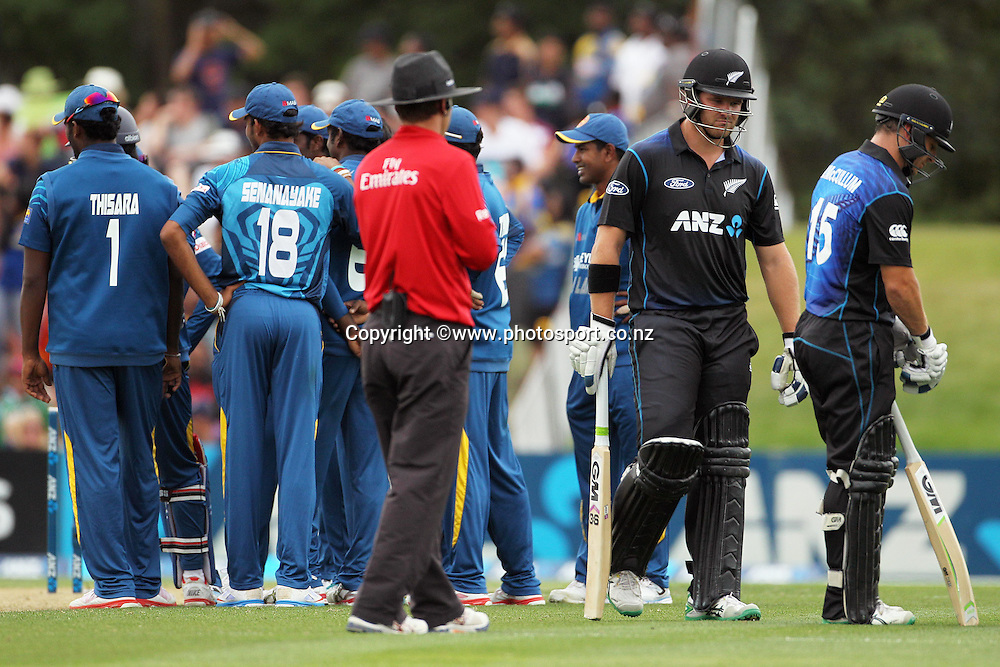 Corey Anderson of the Black Caps is given out during the first ODI cricket game between the Black Caps v Sri Lanka at Hagley Oval, Christchurch. 11 January 2015 Photo: Joseph Johnson / www.photosport.co.nz