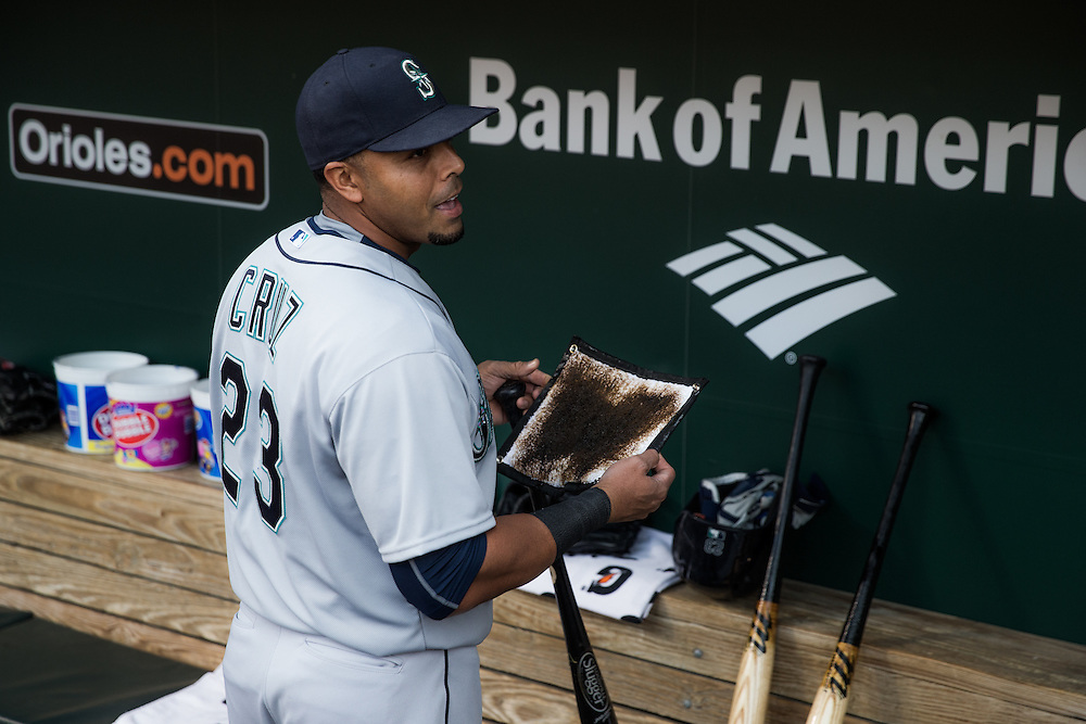 BALTIMORE, MD - MAY 20:  Nelson Cruz #23 of the Seattle Mariners looks on before the game against the Baltimore Orioles at Oriole Park at Camden Yards on May 20, 2015 in Baltimore, Maryland. (Photo by Rob Tringali) *** Local Caption *** Nelson Cruz