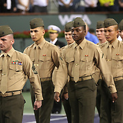 March 7, 2014, Indian Wells, California: <br /> A 'Salute to Heroes' military ceremony is held on Stadium 1 at the Indian Wells Tennis Garden during the 2014 BNP Paribas Open. <br /> (Photo by Billie Weiss/BNP Paribas Open)