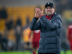 WOLVERHAMPTON, ENGLAND - Thursday, January 23, 2020: Liverpool's manager Jürgen Klopp celebrates after the FA Premier League match between Wolverhampton Wanderers FC and Liverpool FC at Molineux Stadium. Liverpool won 2-1. (Pic by David Rawcliffe/Propaganda)