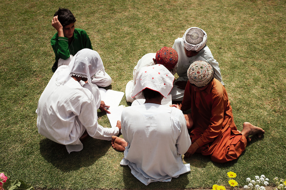 Madrasah students study at Bharchundi Sharif, a Muslim shrine in Ghotki district, Sindh, Pakistan on March 23, 2012.A rise in in reports of forced conversion of Hindu girls to Islam in provinces in Pakistan has gained prominence within the political, media, religious and social domains with the case of a 21 year old woman Rinkle Kumari. On February 24, 2012 her family reported to police of Ghotki district, Sindh province that she had been abducted by armed men from the family home in the village of Mirpur Mathelo. it is then alleged by the family and broadrer hindu community that she was forced to convert to Islam and marry Syed Naveed Shah, a neighbour of the girl within their village. Complications with court hearings for the case, perceptions by the Muslim community that the police sided with the Muslim community when dealing with issue and the politicisation of the case by a Pakistan Peoples Party Member for National Assembly Mian Abdul Haq alias Mian Mitho has led to a hearing being called in the Supreme Court, Islamabad, Pakistan on March 26, 2012. The hearing will hopefully ascertain whether the girl was abducted or in fact left with Syed Naveed Shah of her own free will.