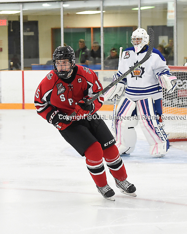 STOUFFVILLE, ON - Oct 3, 2015 : Ontario Junior Hockey League game action between Markham and Stouffville, Calvin Martin #15 of the Cobourg Cougars skates up the ice during the third period.<br /> (Photo by Andy Corneau / OJHL Images)