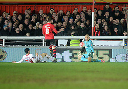 Robert Olejnik of Exeter City saves a shot from Joao Teixeira  of Liverpool - Mandatory byline: Alex James/JMP - 08/01/2016 - FOOTBALL - St James Park - Exeter, England - Exeter City v Liverpool - FA Cup Third Round