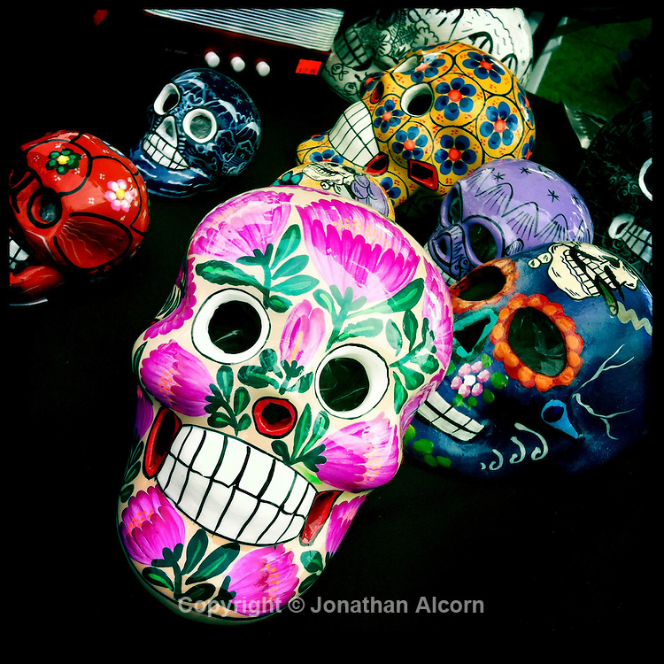 Painted decorative small skulls at a carnival