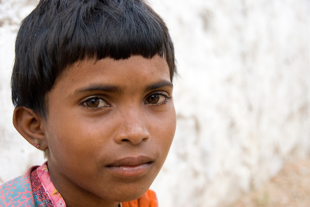 Portrait of a young girl from Rajasthan, India.