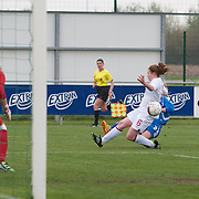 21120413 - IEPER, BELGIUM : the ball shot by Iceland's  Ella Thorarensen (3)  runs towards the goal despite the block attempt by England's  Aoife Mannion (6)   during the Second qualifying round of U17 Women Championship between England and Iceland on Friday April 13th, 2012 in Ieper, Belgium.