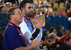 Head coach of Slovenia Miro Pozun and Boris Denic at qualification match for  Euro 2010 in Austria between national teams of Slovenia and Germany, Group 5, on November 2, 2008 in Arena Zlatorog, Celje, Slovenia. (Photo by Vid Ponikvar / Sportal Images)/ Sportida