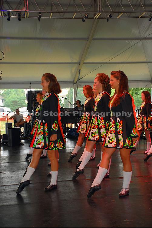 Side view photo of Irish Dancers at the Dublin Irish Festival in Dublin, Ohio.