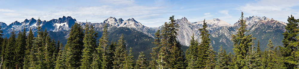 The view from Polalie Ridge in Alpine Lakes Wilderness Area: Chikamin Peak, Lemah Mountain, Overcoat Peak, Summit Chief, Mount Hinman, Mount Daniel. Polalie Ridge hike starts from Pete Lake Trailhead near Salmon La Sac Campground, which is 8 miles North of Cle Elum on State Hwy 903, Washington, USA. Panorama stitched from 7 images.